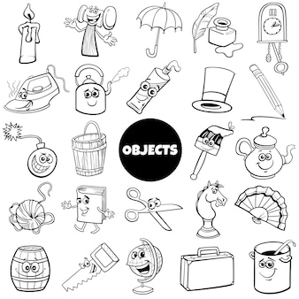 Black and white cartoon home related objects set