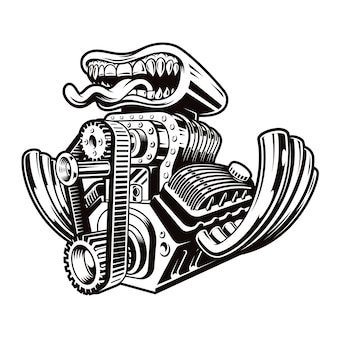 A black and white cartoon hot rod engine illustration isolated on a dark background