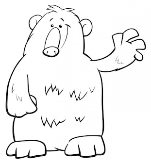 Black and white cartoon illustration of bear