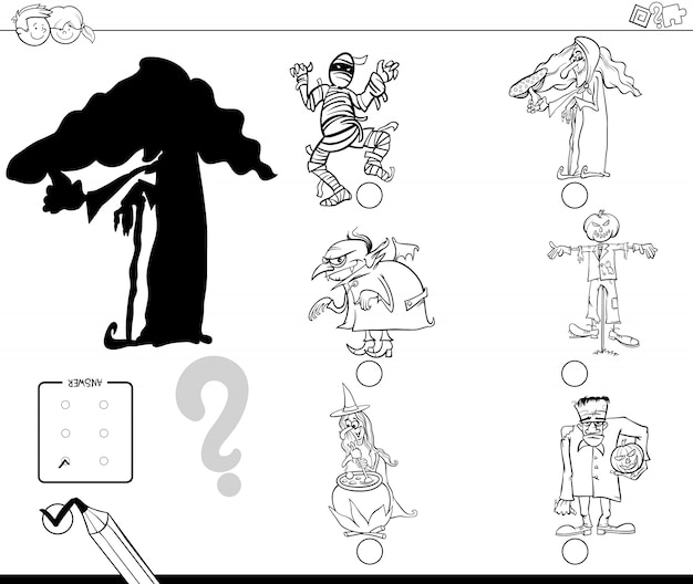 Black and white cartoon illustration of finding the right shadow educational activity