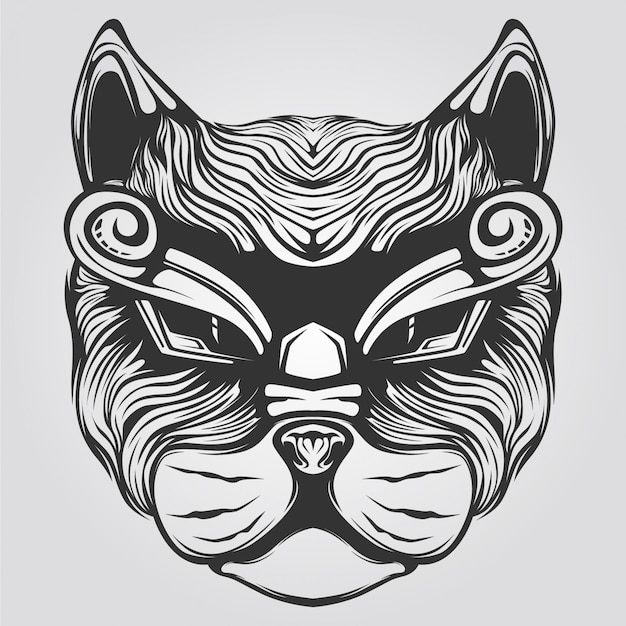 Black and white cat decorative lion art