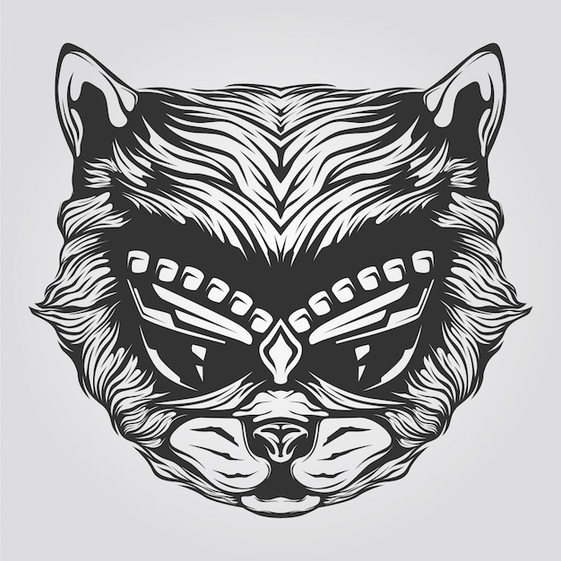Black and white cat line art for tatto or coloring book