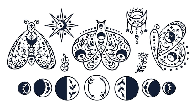 Black-white celestial butterfly, moth, moon phases. hand drawn line insects, sun, stars and moon.