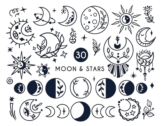 Black-white celestial moon and sun boho kids clipart