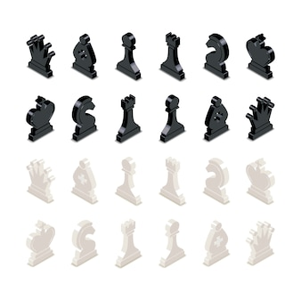 Black and white chess figures in isometric view