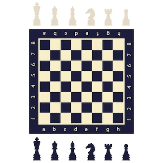 Black and white chess pieces and a board. flat game figures icons isolated on background.