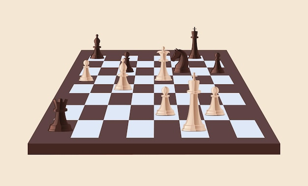 Black and white chess pieces on chessboard isolated. strategy game played on checkered board