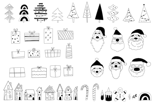 Black and white christmas clipart. vector illustration.