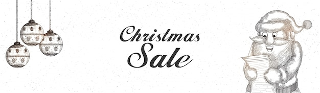 Black and white christmas sale banner