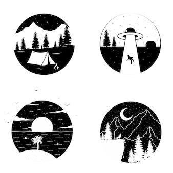 Black and white circle t-shirt or sticker design