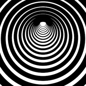 Black and white circular lines tunnel striped background stripes motif with curves for page fills