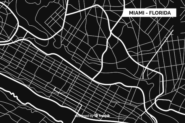 Black and white city map for miami - florida