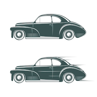 Black and white classic car icon.