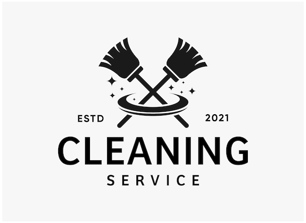 Black and white cleaning service logo