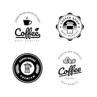 블랙 화이트 커피 로고 템플릿 디자인 프리미엄 벡터