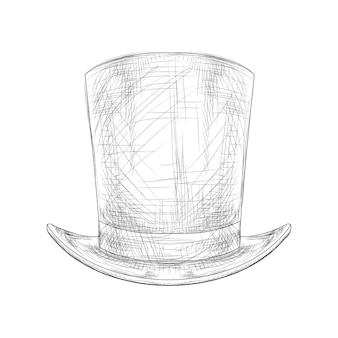 Black and white color hand drawn top hat vector illustration