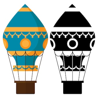 Black and white, colorful earostats. hot air balloons vector illustration