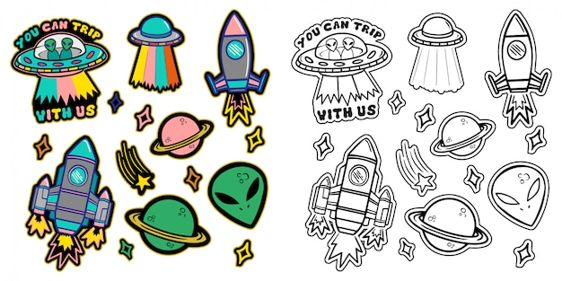 Black and white and colorful line set icons with patches stickers with stars alien ufo spaceships planets.