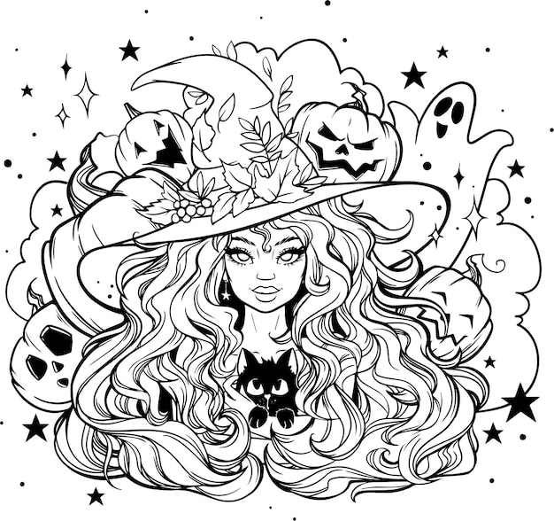 Black and white coloring girl witch postcard coloring for halloween autumn leaves stars ghost