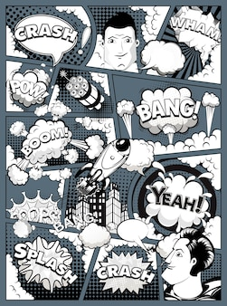 Black and white comic book page divided by lines on dark background with speech bubbles, rocket, superhero and sounds effect. vector illustration