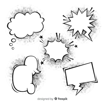 Black and white comic speech bubbles with shadows