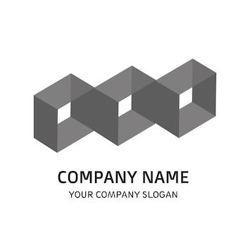 Black white company logo vector template