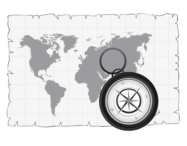 Black and white compass over old map vector illustration