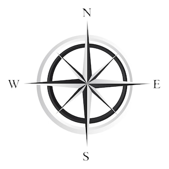 Black and white compass rose over white background vector