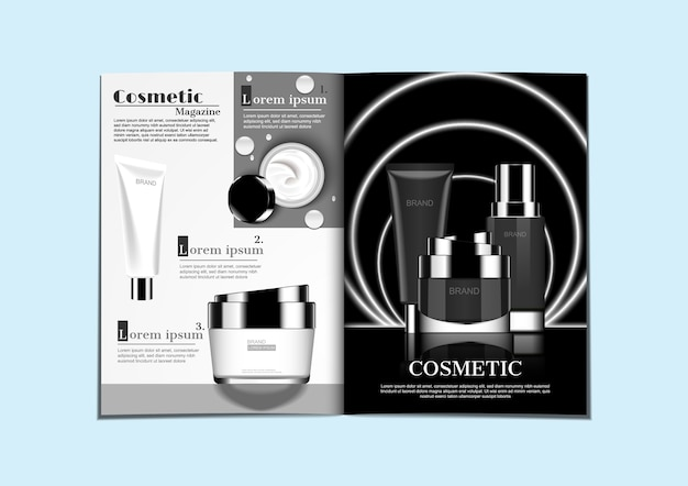 Black and white cosmetic products on two tone colors