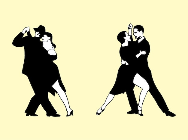 Black and white couples dancing