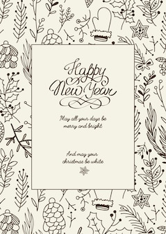 Black and white creative happy new year card