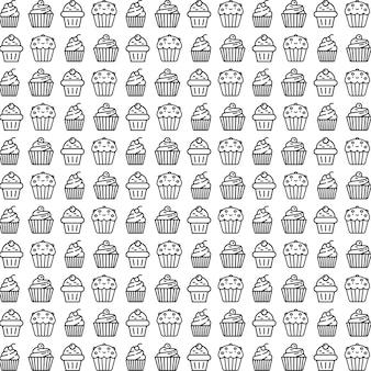 Black and white cup cake pattern
