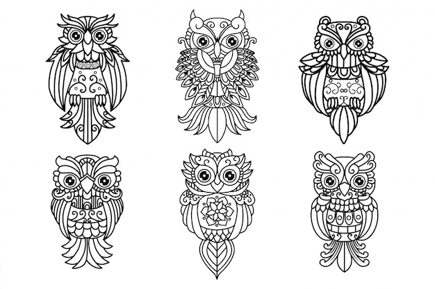 Black and white cut file outline owl pack