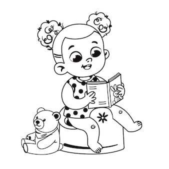 Black and white cute little girl potty training and reading a book vector illustration