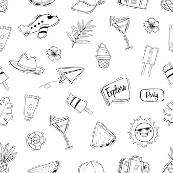 Black and white cute summer seamless pattern with doodle style