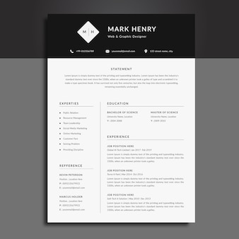 Black and white cv resume template