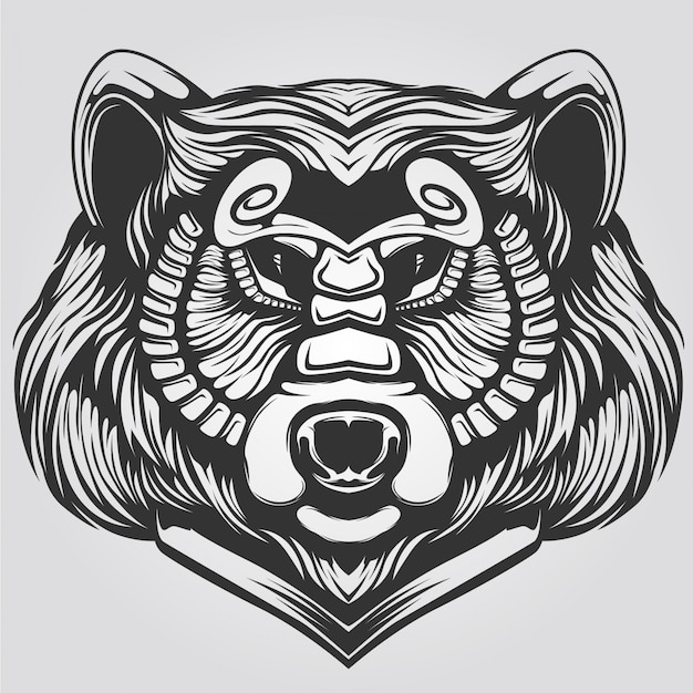 Black and white decorative bear line art