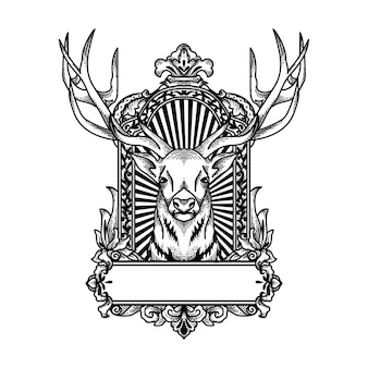 Black and white deer in frame ornament
