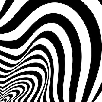 Black and white design. abstract 3d geometrical background with optical illusion