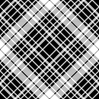 Black and white diagonal plaid seamless pattern
