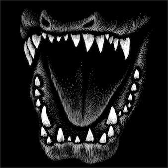 Black and white dinosaur illustration