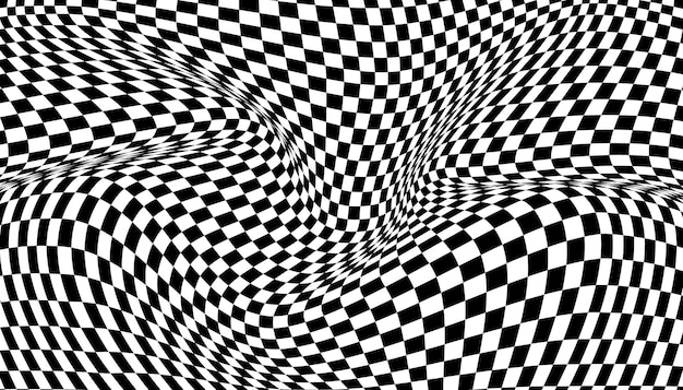Black and white distorted checkered background