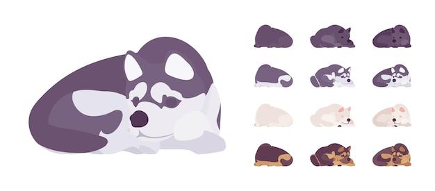 Черный, белый пес, хаски, спальный гарнитур овчарки. домашнее животное, семейный компаньон, домашняя охрана, ферма или полицейская порода. векторные иллюстрации шаржа плоский стиль изолированные, белый фон, разные взгляды