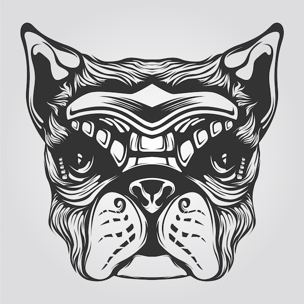 Black and white dog line art for tatto or coloring book