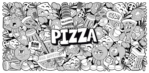Black and white doodle background for a pizzeria theme