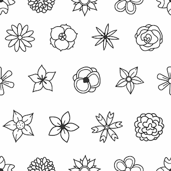 Black and white doodle flowers on a white background seamless pattern vector illustration