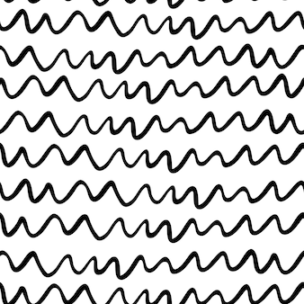 Black and white doodle lines seamless pattern. simple hand-drawn abstract background, line art