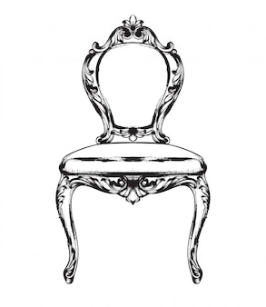 Black and white. doodle  rich baroque chair