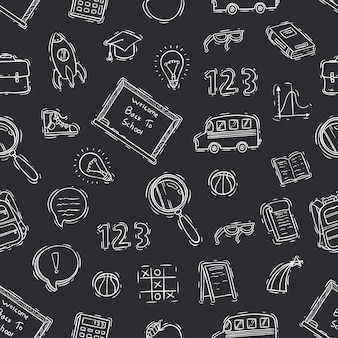 Black and white of doodle school seamless pattern on chalkboard