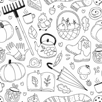 Black and white doodle seamless pattern with autumn elements vector illustration